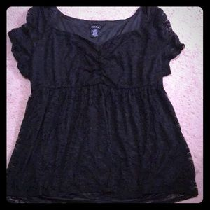 Black lace babydoll top nwot